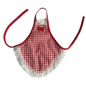 Vintage Red Gingham Lace Handcrafted Bottle Apron